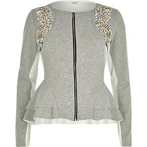 Grey scuba embellished peplum jacket