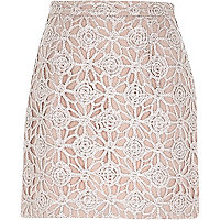 Pink sparkly lace A-line skirt