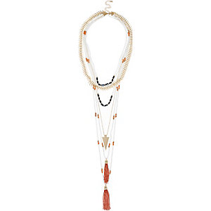 Gold tone layered beaded necklace