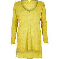 Yellow linen-blend side split top