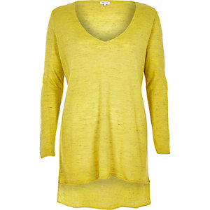 Yellow linen-blend side split top