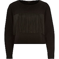 Black fringed front long sleeve sweatshirt