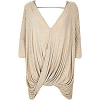 Beige 3/4 sleeves drape front top