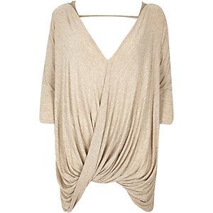 Beige 3/4 sleeves drape front top