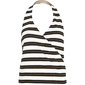 White stripe plunge wrap halter neck top