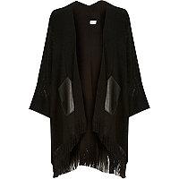 Black fine knit tassel cape