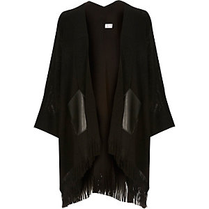 Black fine knit tassel cape