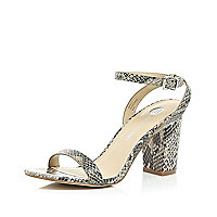 Grey snake print leather block heel sandals