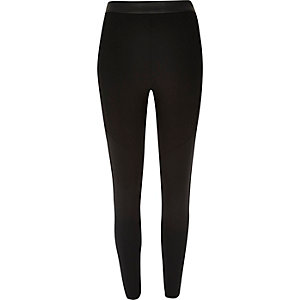 Black slim leather-look trim trousers