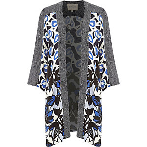 Blue crepe lily print kimono jacket