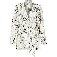 Grey floral print trench jacket