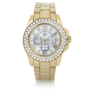 Gold tone gem encrusted watch