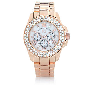 Rose gold tone gem encrusted watch
