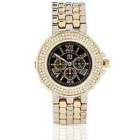 Gold tone gem black round face watch