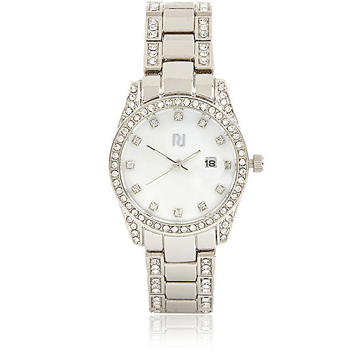 Womens Watches Silver Tone Silver Tone Diamante Watch