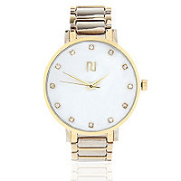 Gold tone simple face watch