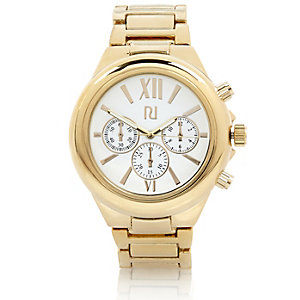 Gold tone oversized watch