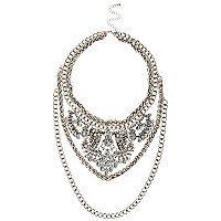 Silver tone statement chain necklace