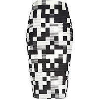 Black square print pull on pencil skirt