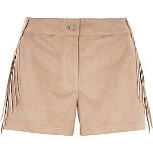 Beige faux suede fringed shorts