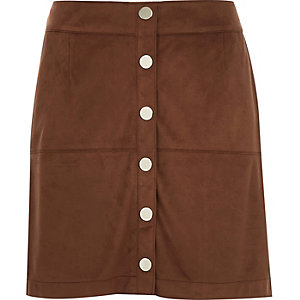Brown faux-suede button up A-line skirt