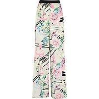 White floral print palazzo trousers