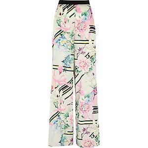 White floral print palazzo pants