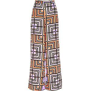 Purple square print palazzo pants