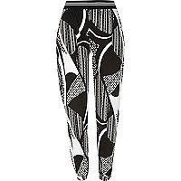 Black monochrome print joggers