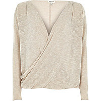 Beige wrap front long sleeve top