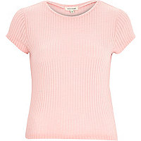 Pink short sleeve sheer ribbed t-shirt