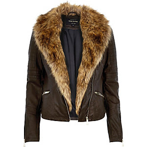 Dark brown leather-look faux fur biker jacket