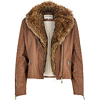 Brown leather-look faux fur biker jacket