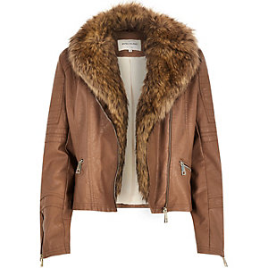 Brown leather-look faux fur biker jacket