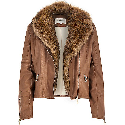 tan faux fur leather jacket river island