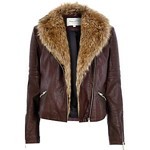 Dark red leather-look faux fur biker jacket