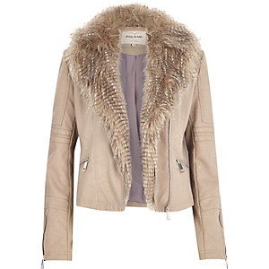 Beige leather-look faux fur biker jacket