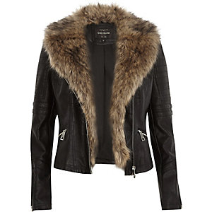Black leather-look faux fur biker jacket