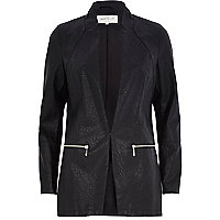 Black leather-look fitted longline jacket