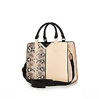 Beige snake print structure tote bag