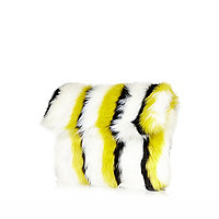 Lime stripe faux fur clutch bag