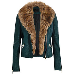 Dark green leather-look faux fur biker jacket
