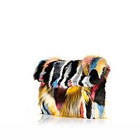 Mixed faux fur clutch bag