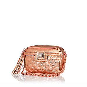 Pink metallic quilted mini cross body bag