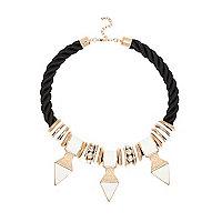 Black tribal embellished rope necklace