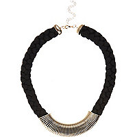 Black  chunky rope short necklace
