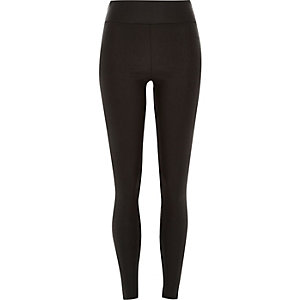 Black cracked coated high waisted leggings