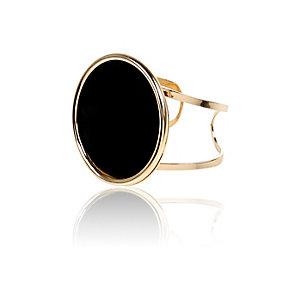 Black oversized circle stone cuff