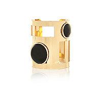 Gold tone cut out black stone cuff bracelet