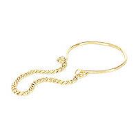 Gold tone cuff chain hybrid bracelet